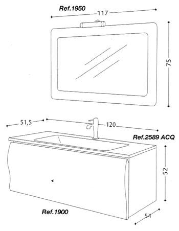 Arredamento bagno in legno Rovere serie Wave cm 120
