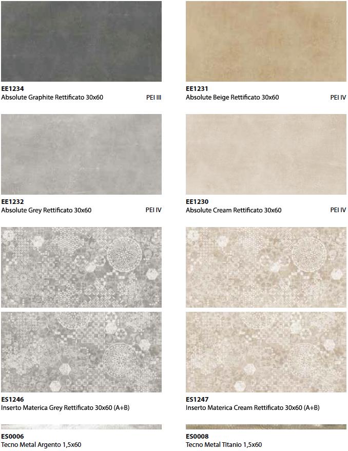 Pavimento e rivestimento effetto cemento Absolute in gres porcellanato rettificato