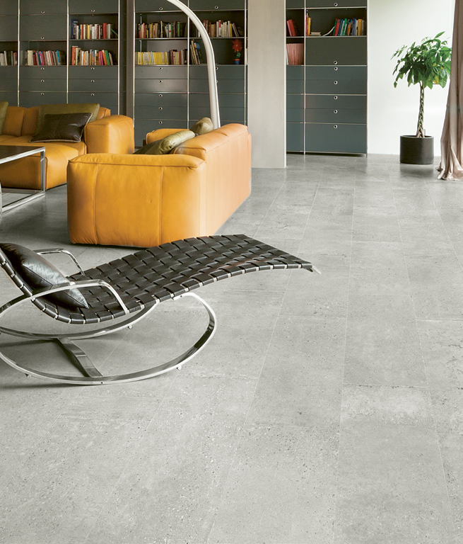 "PAVIMENTO . FLOOR: Stone Cement Grey 30,8x61,5 . 12""x24"""